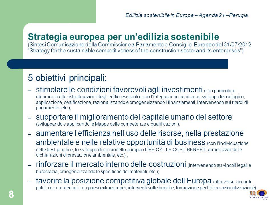 ECTP European Construction Technology Platform Una delle 39 piattaforme tecnologiche EU Partecipanti: pubblici e privati Obiettivi: sostenibilità e sicurezza efficienza e miglioramento della produttività.