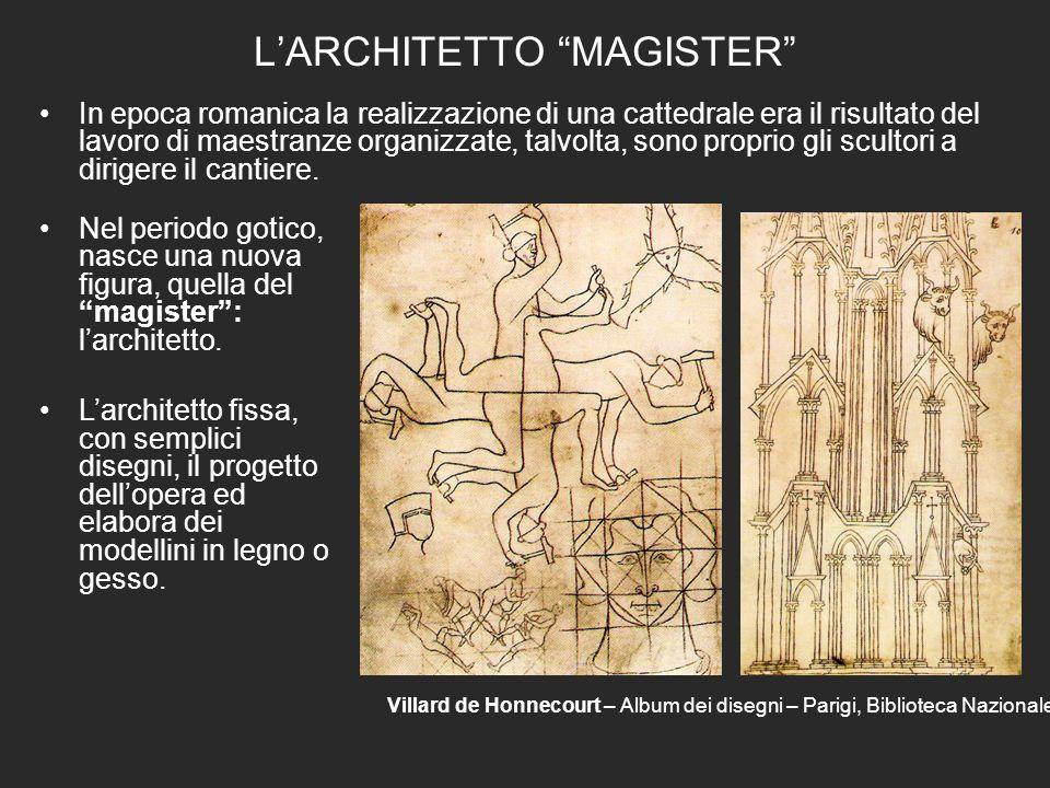 LARCHITETTO MAGISTER In epoca romanica la realizzazione di una cattedrale era il risultato del lavoro di maestranze organizzate, talvolta, sono proprio gli scultori a dirigere il cantiere.