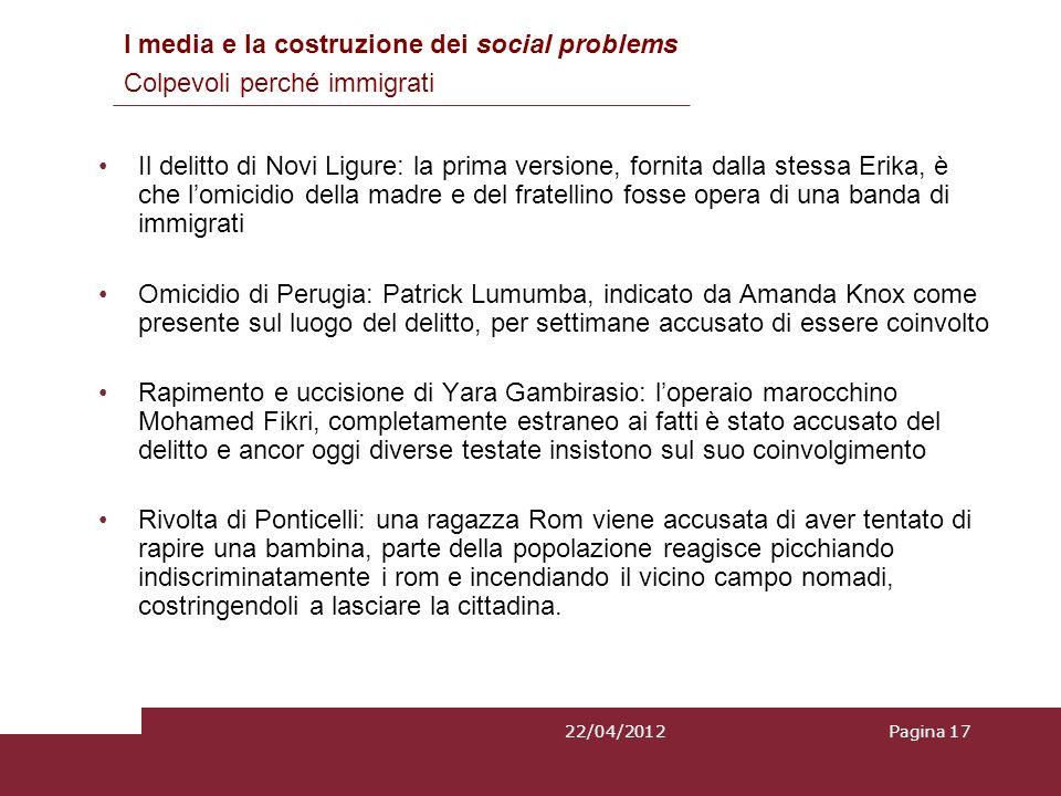 Il delitto di Novi Ligure: la prima versione, fornita dalla stessa Erika, è che lomicidio della madre e del fratellino fosse opera di una banda di imm