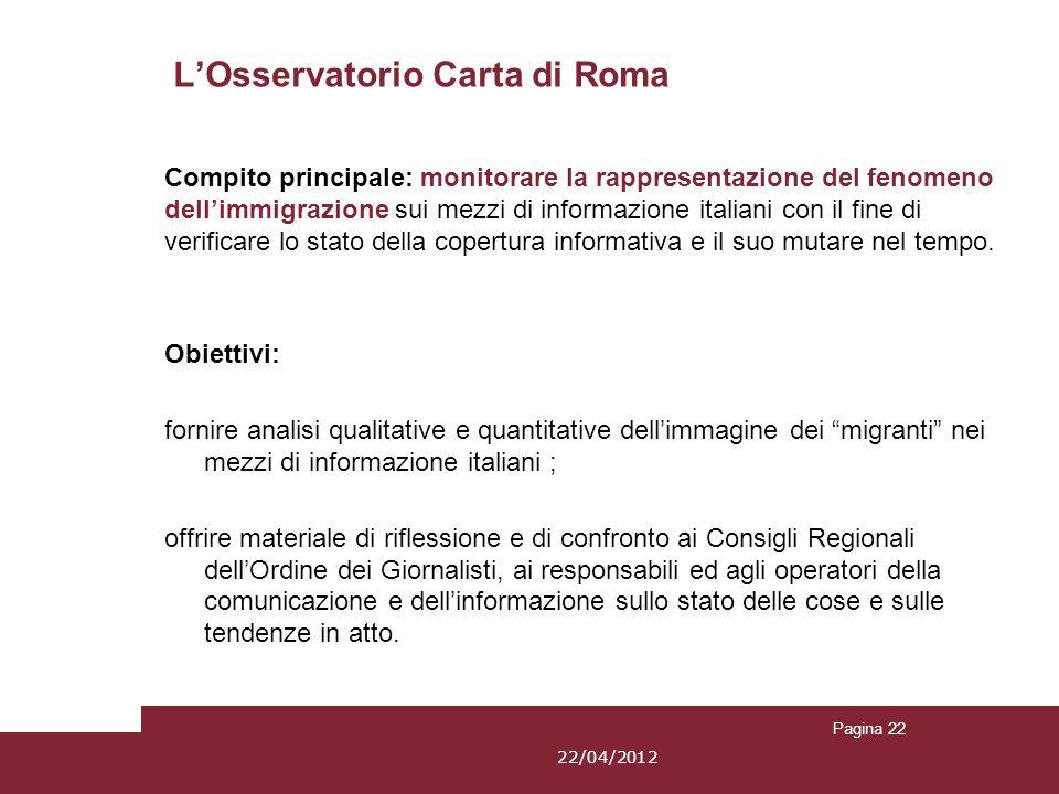 Pagina 22 LOsservatorio Carta di Roma Obiettivi: fornire analisi qualitative e quantitative dellimmagine dei migranti nei mezzi di informazione italia