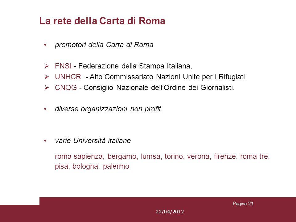 Pagina 23 promotori della Carta di Roma FNSI - Federazione della Stampa Italiana, UNHCR - Alto Commissariato Nazioni Unite per i Rifugiati CNOG - Cons