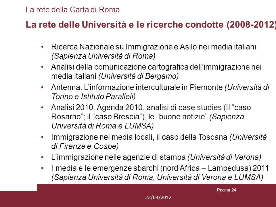 Pagina 24 La rete della Carta di Roma La rete delle Università e le ricerche condotte (2008-2012) Ricerca Nazionale su Immigrazione e Asilo nei media