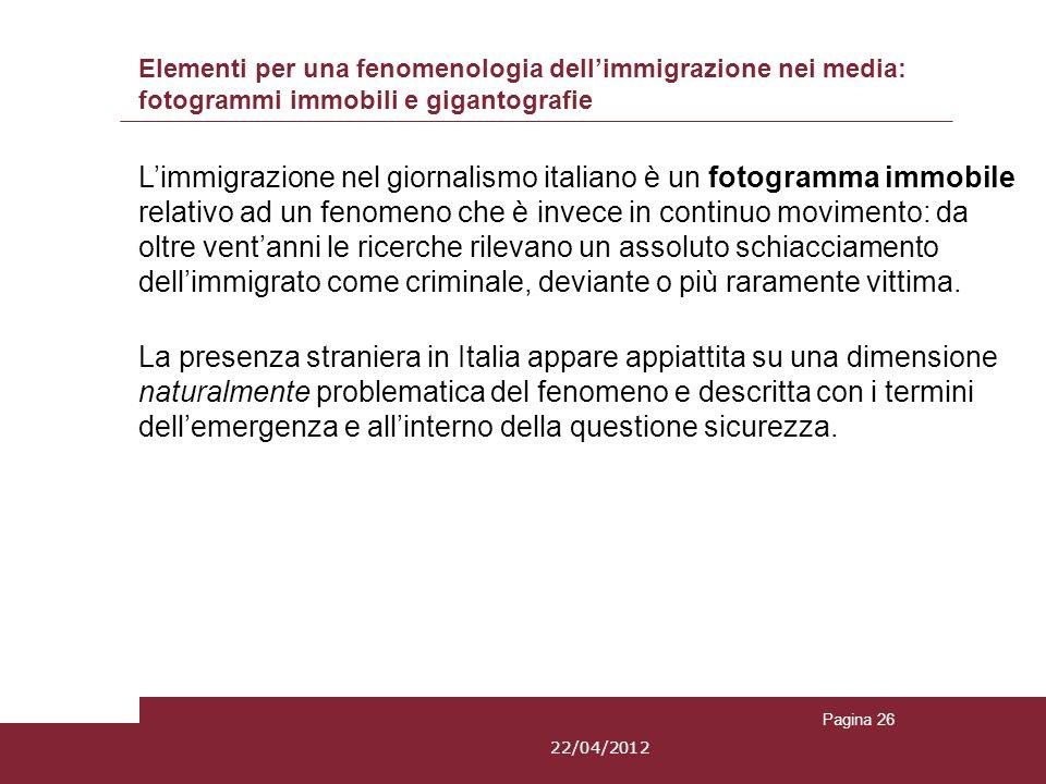 Elementi per una fenomenologia dellimmigrazione nei media: fotogrammi immobili e gigantografie Limmigrazione nel giornalismo italiano è un fotogramma
