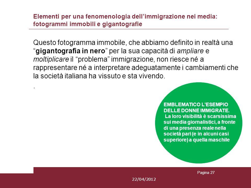 Elementi per una fenomenologia dellimmigrazione nei media: fotogrammi immobili e gigantografie Questo fotogramma immobile, che abbiamo definito in rea