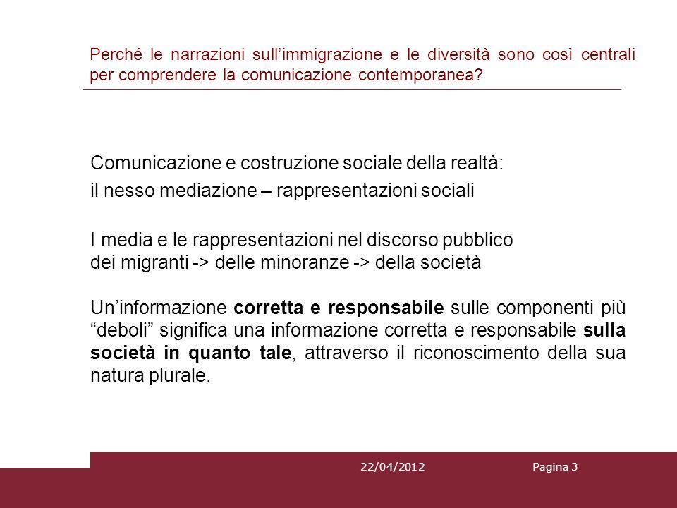 22/04/2012 Comunicazione e costruzione sociale della realtà: il nesso mediazione – rappresentazioni sociali I media e le rappresentazioni nel discorso