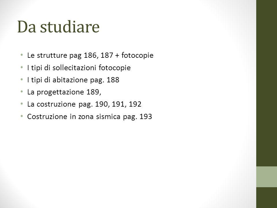 Da studiare Le strutture pag 186, 187 + fotocopie I tipi di sollecitazioni fotocopie I tipi di abitazione pag. 188 La progettazione 189, La costruzion