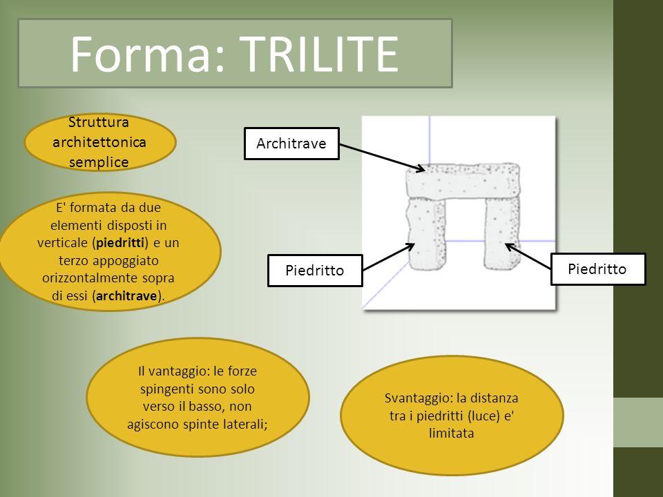 Forma: TRILITE Struttura architettonica semplice Piedritto Architrave E' formata da due elementi disposti in verticale (piedritti) e un terzo appoggia