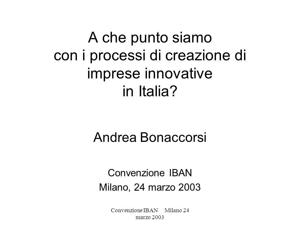 Convenzione IBAN Milano 24 marzo 2003 A che punto siamo con i processi di creazione di imprese innovative in Italia? Andrea Bonaccorsi Convenzione IBA