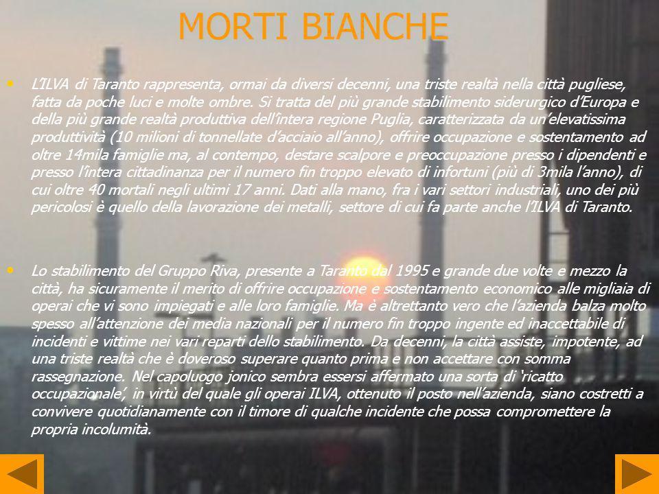 MORTI BIANCHE LILVA di Taranto rappresenta, ormai da diversi decenni, una triste realtà nella città pugliese, fatta da poche luci e molte ombre. Si tr