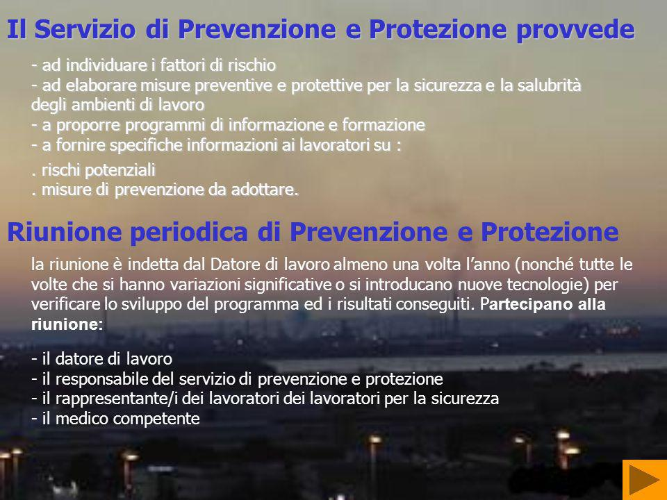 Il Servizio di Prevenzione e Protezione provvede - ad individuare i fattori di rischio - ad elaborare misure preventive e protettive per la sicurezza