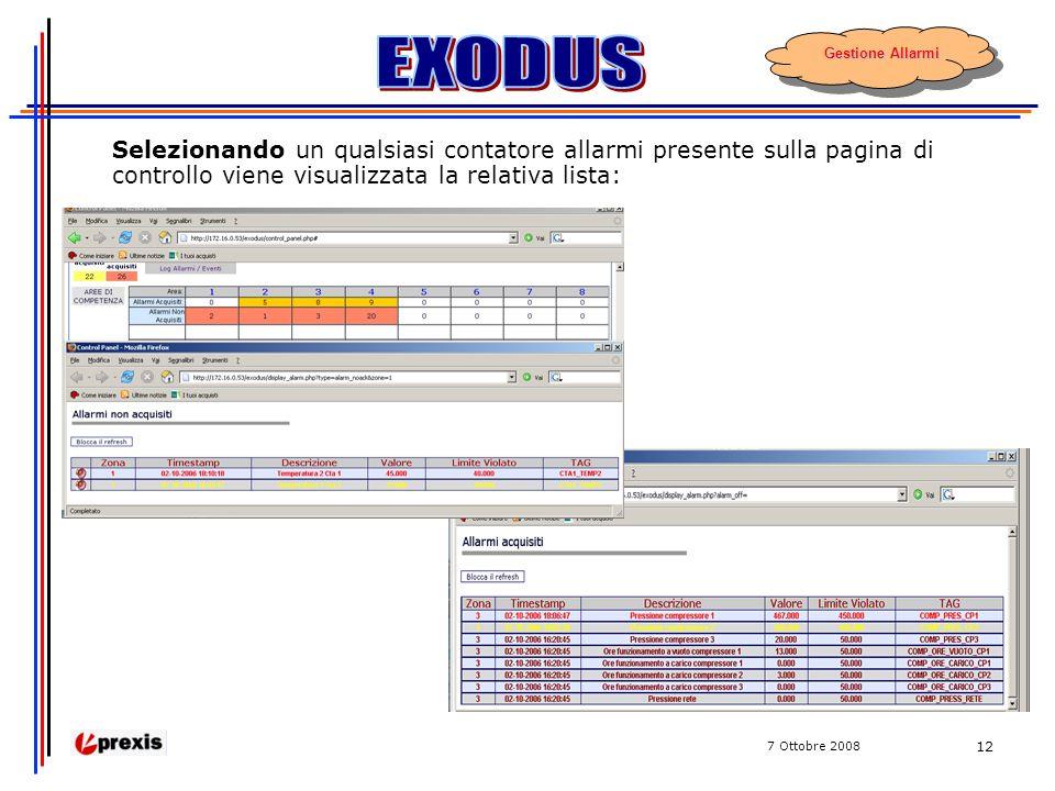 7 Ottobre 2008 12 Selezionando un qualsiasi contatore allarmi presente sulla pagina di controllo viene visualizzata la relativa lista: Gestione Allarmi