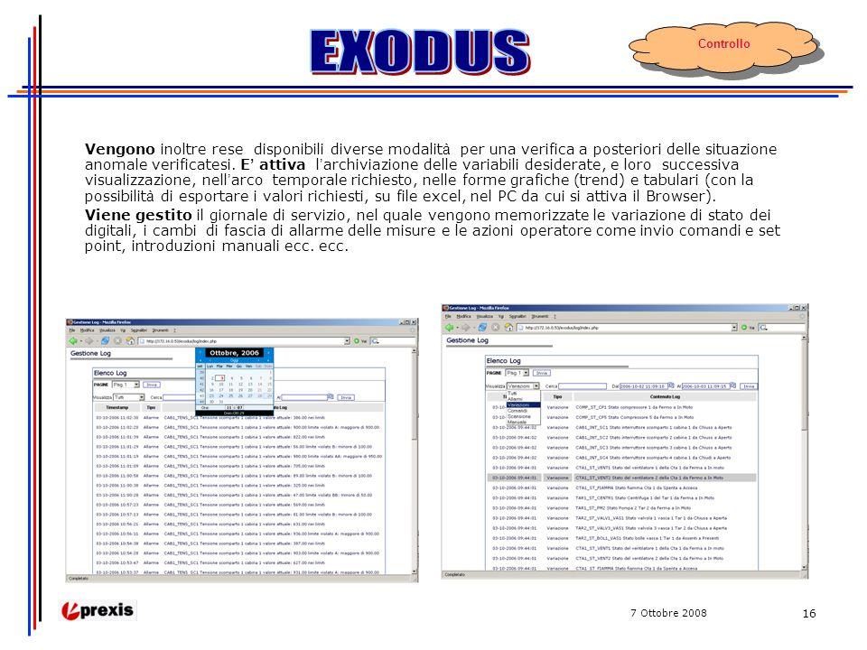 7 Ottobre 2008 16 Vengono inoltre rese disponibili diverse modalit à per una verifica a posteriori delle situazione anomale verificatesi.