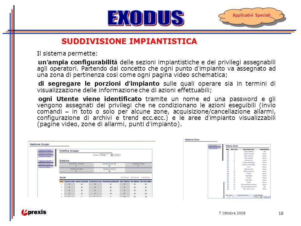7 Ottobre 2008 18 SUDDIVISIONE IMPIANTISTICA Il sistema permette: un ampia configurabilit à delle sezioni impiantistiche e dei privilegi assegnabili agli operatori.