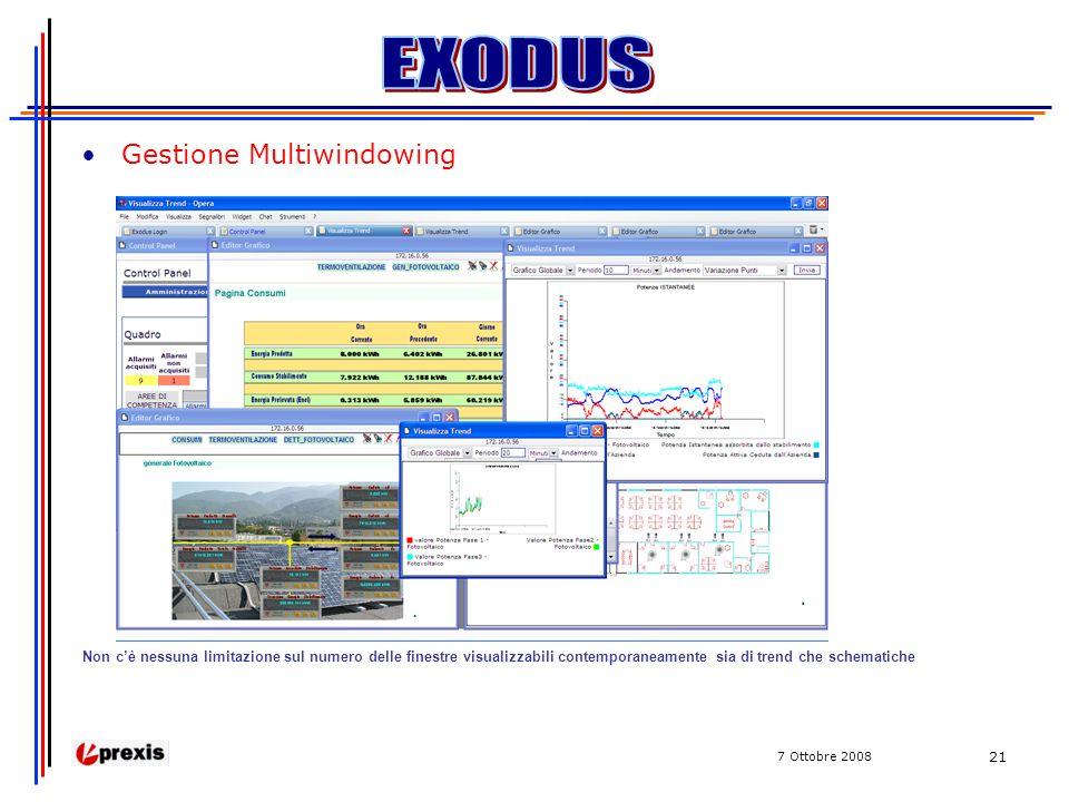 7 Ottobre 2008 21 Gestione Multiwindowing Non cè nessuna limitazione sul numero delle finestre visualizzabili contemporaneamente sia di trend che schematiche