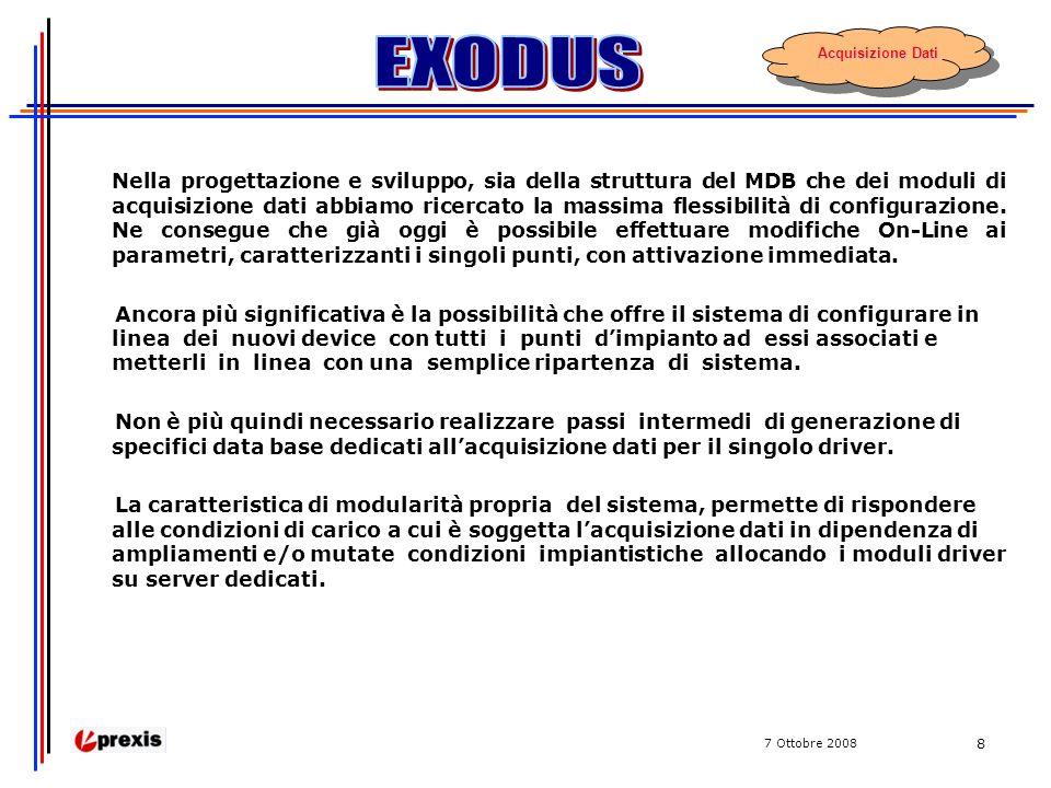 7 Ottobre 2008 8 Nella progettazione e sviluppo, sia della struttura del MDB che dei moduli di acquisizione dati abbiamo ricercato la massima flessibilità di configurazione.