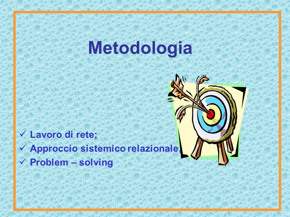 Metodologia Lavoro di rete; Approccio sistemico relazionale; Problem – solving