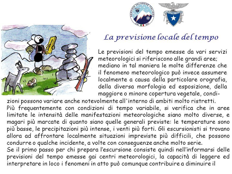 La previsione locale del tempo Le previsioni del tempo emesse da vari servizi meteorologici si riferiscono alle grandi aree; mediano in tal maniera le