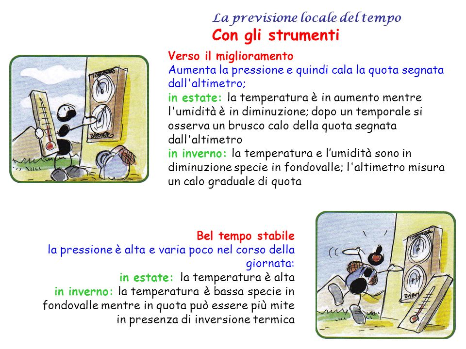 La previsione locale del tempo La temperatura dellaria La temperatura di un corpo viene definita come l indice proporzionale al calore in esso contenuto.