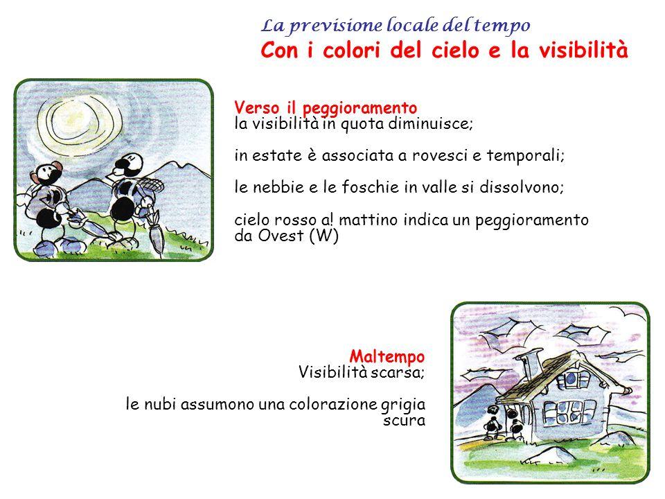 La previsione locale del tempo Con i colori del cielo e la visibilità Verso il peggioramento la visibilità in quota diminuisce; in estate è associata