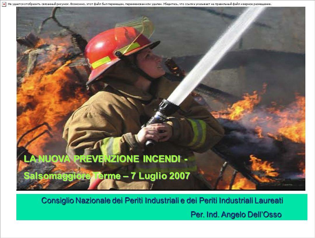 LA NUOVA PREVENZIONE INCENDI - Salsomaggiore Terme – 7 Luglio 2007 Consiglio Nazionale dei Periti Industriali e dei Periti Industriali Laureati Per.
