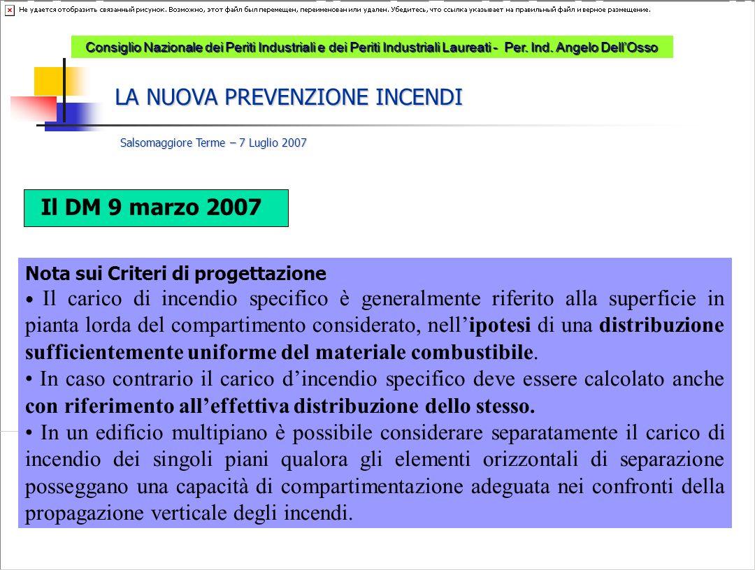 LA NUOVA PREVENZIONE INCENDI Salsomaggiore Terme – 7 Luglio 2007 Consiglio Nazionale dei Periti Industriali e dei Periti Industriali Laureati - Per.
