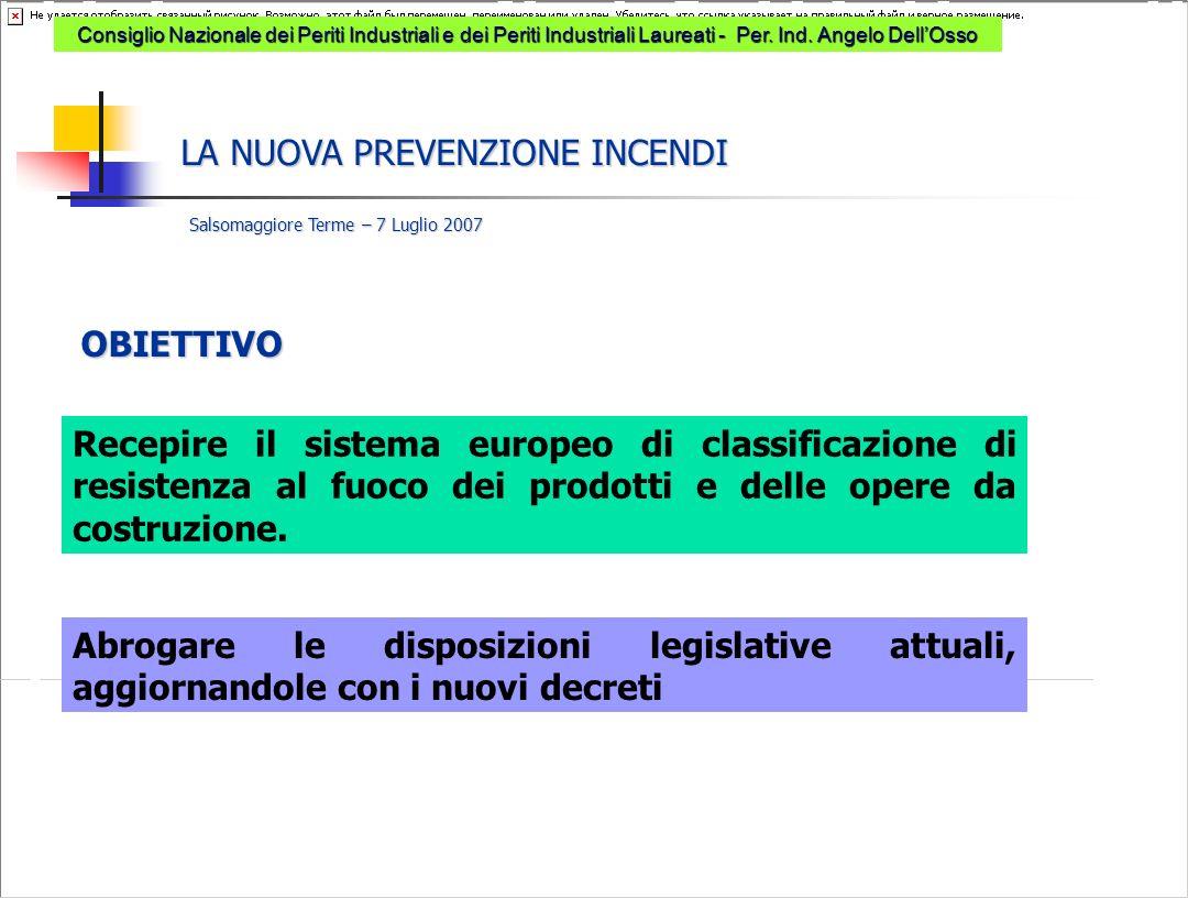 Recepire il sistema europeo di classificazione di resistenza al fuoco dei prodotti e delle opere da costruzione.
