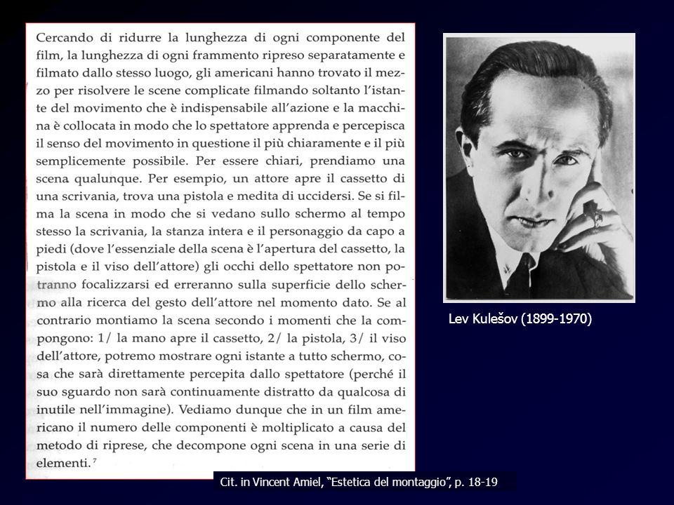 Kulesov Lev Kulešov (1899-1970) Cit. in Vincent Amiel, Estetica del montaggio, p. 18-19