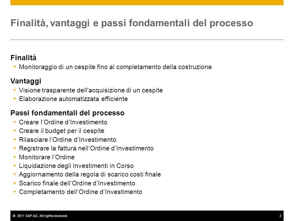 ©2011 SAP AG. All rights reserved.2 Finalità, vantaggi e passi fondamentali del processo Finalità Monitoraggio di un cespite fino al completamento del