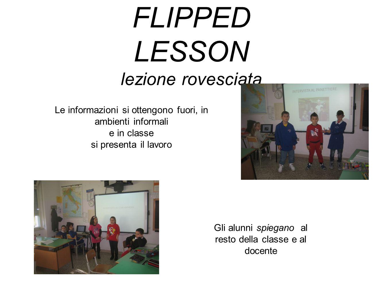 FLIPPED LESSON lezione rovesciata Le informazioni si ottengono fuori, in ambienti informali e in classe si presenta il lavoro Gli alunni spiegano al r