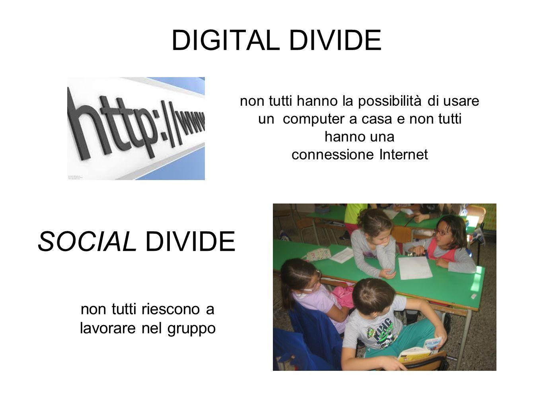 DIGITAL DIVIDE SOCIAL DIVIDE non tutti hanno la possibilità di usare un computer a casa e non tutti hanno una connessione Internet non tutti riescono