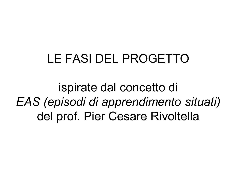 LE FASI DEL PROGETTO ispirate dal concetto di EAS (episodi di apprendimento situati) del prof. Pier Cesare Rivoltella