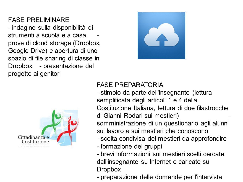 FASE PRELIMINARE - indagine sulla disponibilità di strumenti a scuola e a casa, - prove di cloud storage (Dropbox, Google Drive) e apertura di uno spa