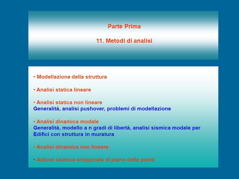 Modellazione della struttura Analisi statica lineare Analisi statica non lineare Generalità, analisi pushover, problemi di modellazione Analisi dinami