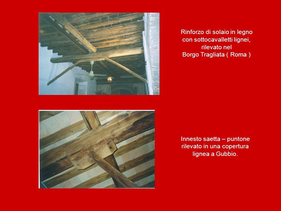 Rinforzo di solaio in legno con sottocavalletti lignei, rilevato nel Borgo Tragliata ( Roma ) Innesto saetta – puntone rilevato in una copertura ligne