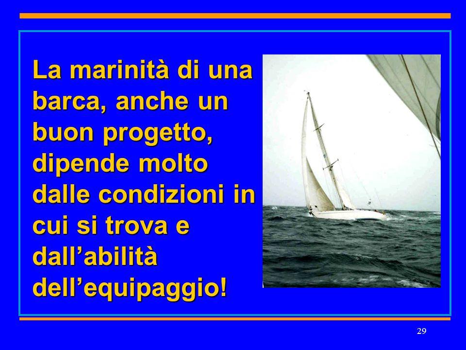 29 La marinità di una barca, anche un buon progetto, dipende molto dalle condizioni in cui si trova e dallabilità dellequipaggio!