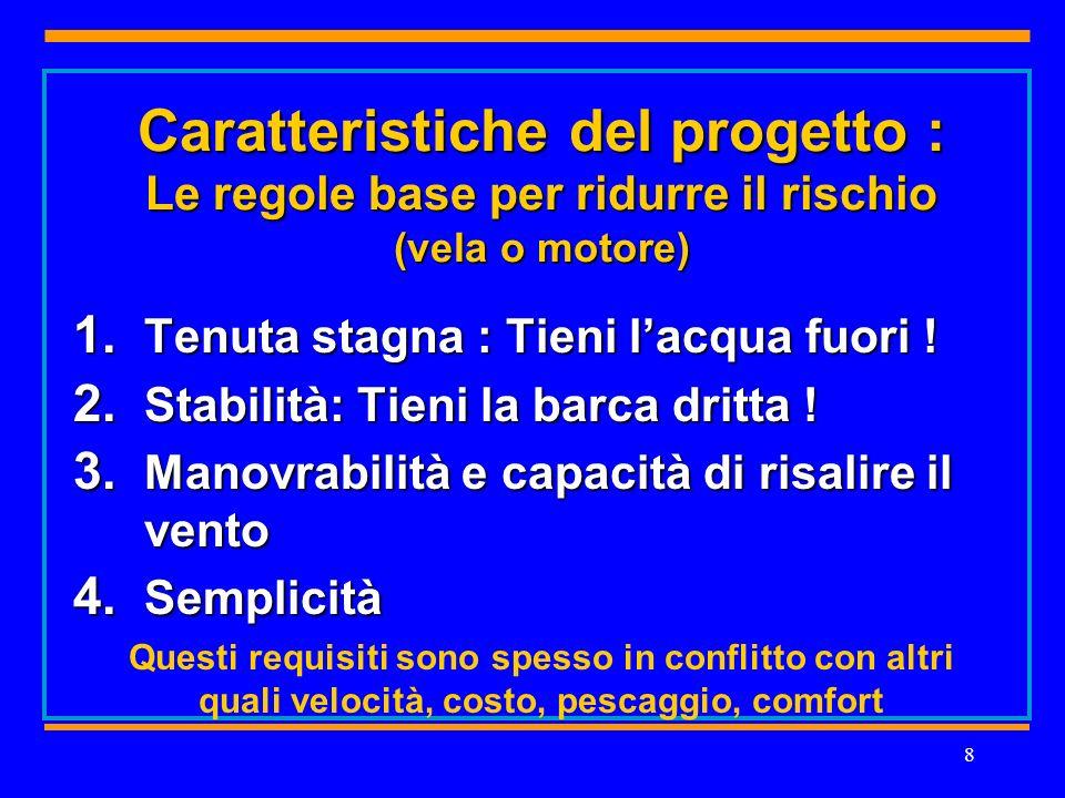 8 Caratteristiche del progetto : Le regole base per ridurre il rischio (vela o motore) 1.