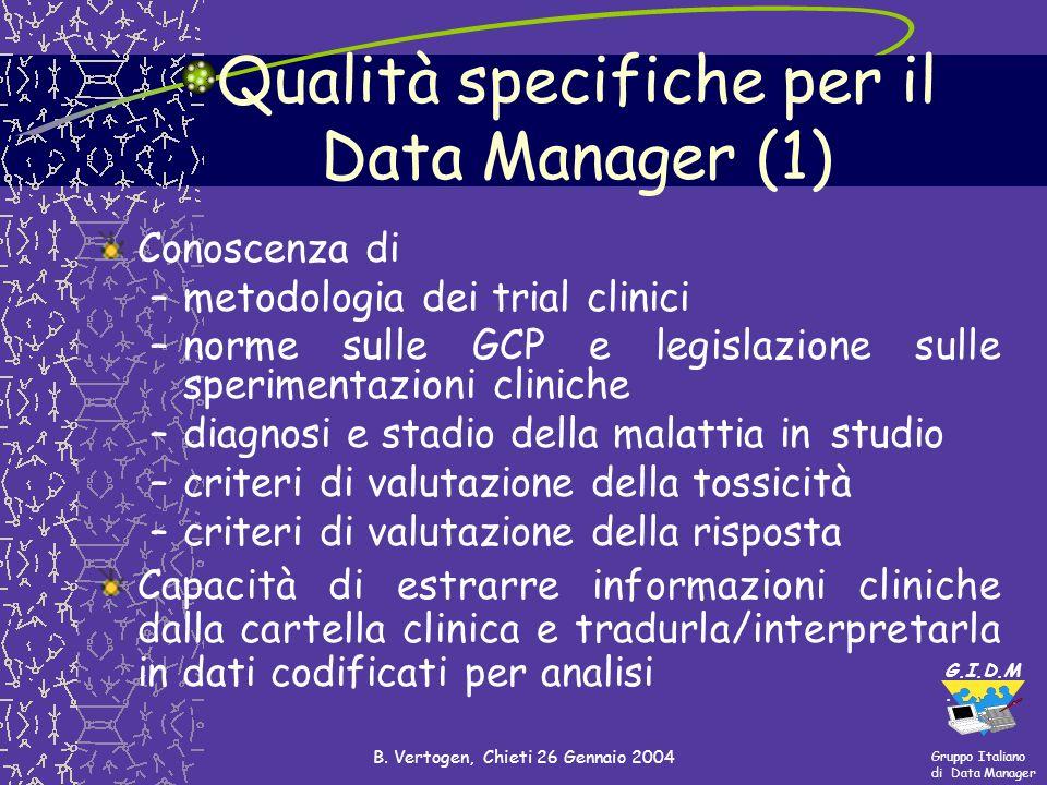 Gruppo Italiano di Data Manager G.I.D.M. B. Vertogen, Chieti 26 Gennaio 2004 Qualità specifiche per il Data Manager (1) Conoscenza di –metodologia dei