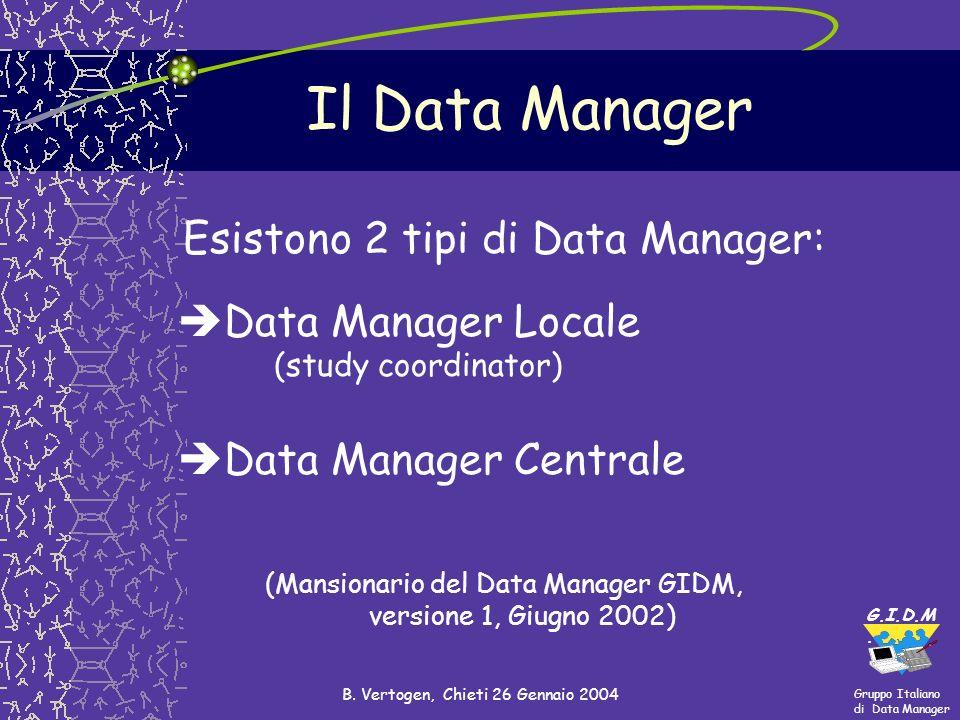Gruppo Italiano di Data Manager G.I.D.M. B. Vertogen, Chieti 26 Gennaio 2004 Il Data Manager Esistono 2 tipi di Data Manager: Data Manager Locale (stu
