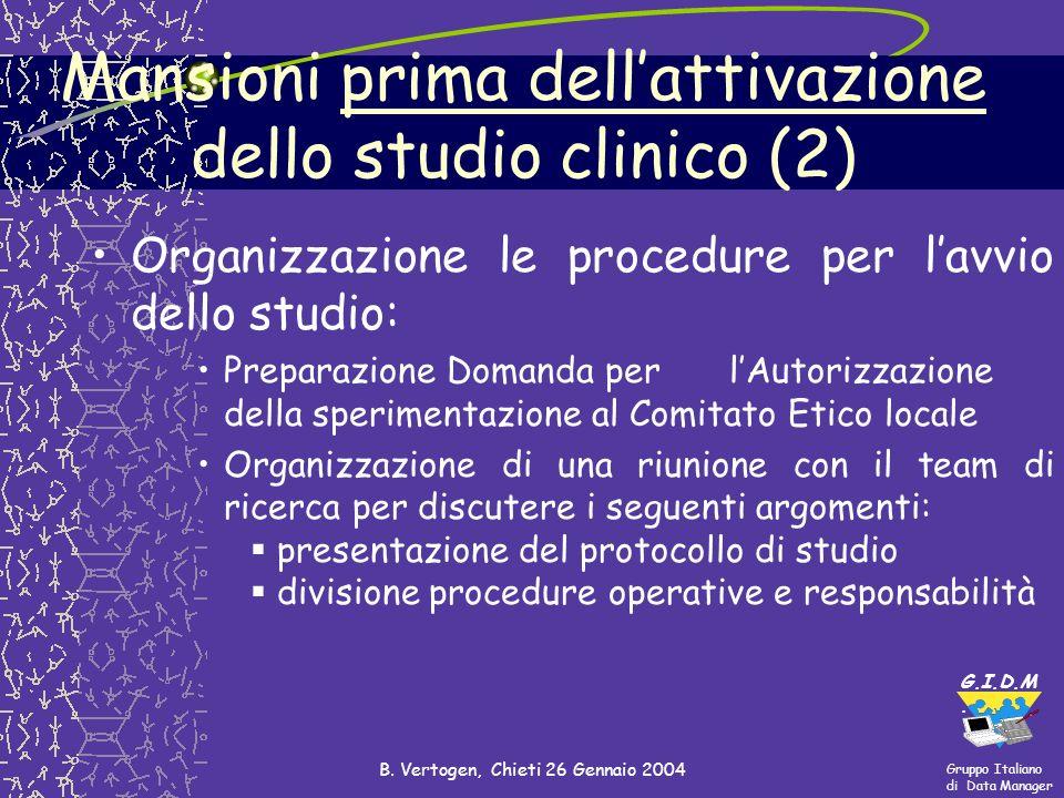 Gruppo Italiano di Data Manager G.I.D.M. B. Vertogen, Chieti 26 Gennaio 2004 Mansioni prima dellattivazione dello studio clinico (2) Organizzazione le
