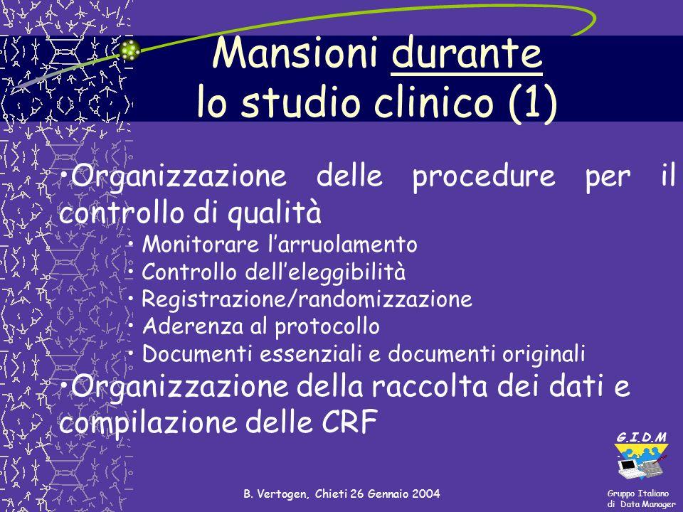 Gruppo Italiano di Data Manager G.I.D.M. B. Vertogen, Chieti 26 Gennaio 2004 Organizzazione delle procedure per il controllo di qualità Monitorare lar