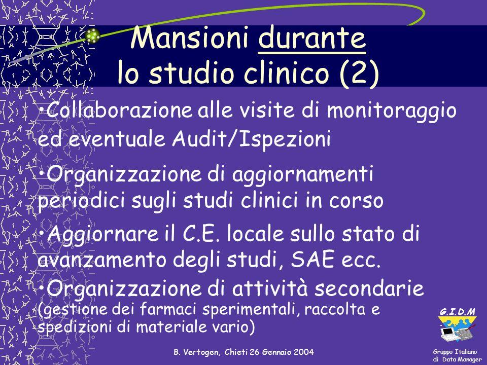 Gruppo Italiano di Data Manager G.I.D.M. B. Vertogen, Chieti 26 Gennaio 2004 Mansioni durante lo studio clinico (2) Collaborazione alle visite di moni