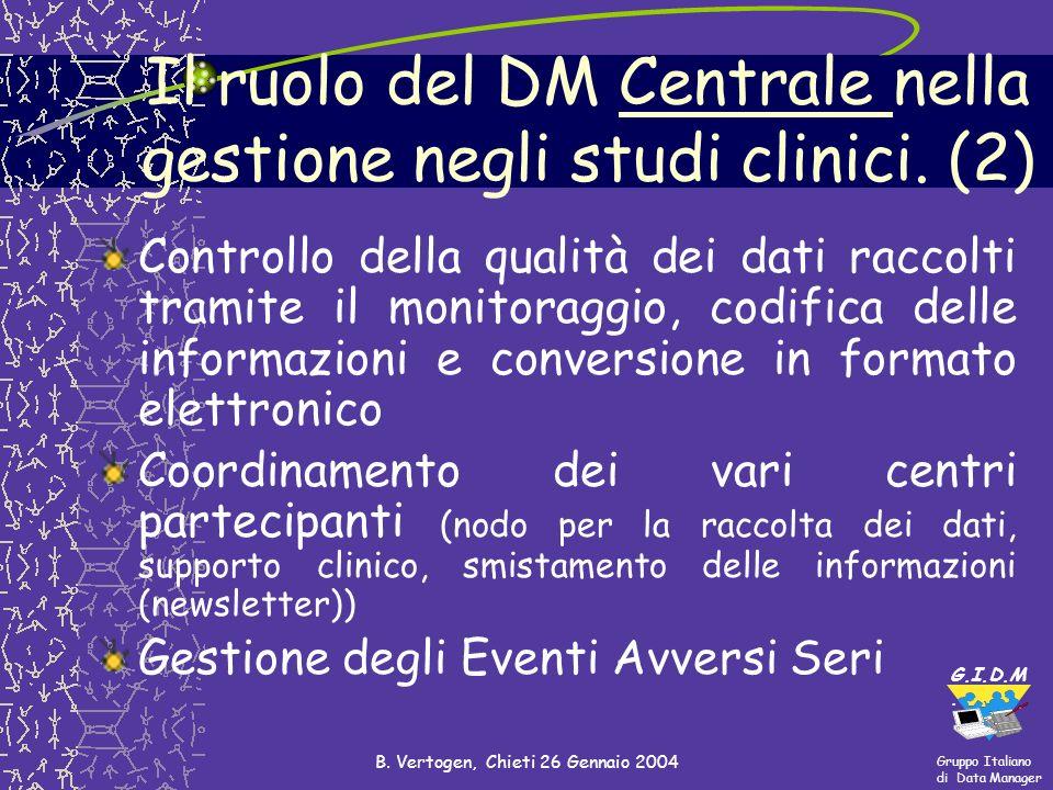 Gruppo Italiano di Data Manager G.I.D.M. B. Vertogen, Chieti 26 Gennaio 2004 Controllo della qualità dei dati raccolti tramite il monitoraggio, codifi