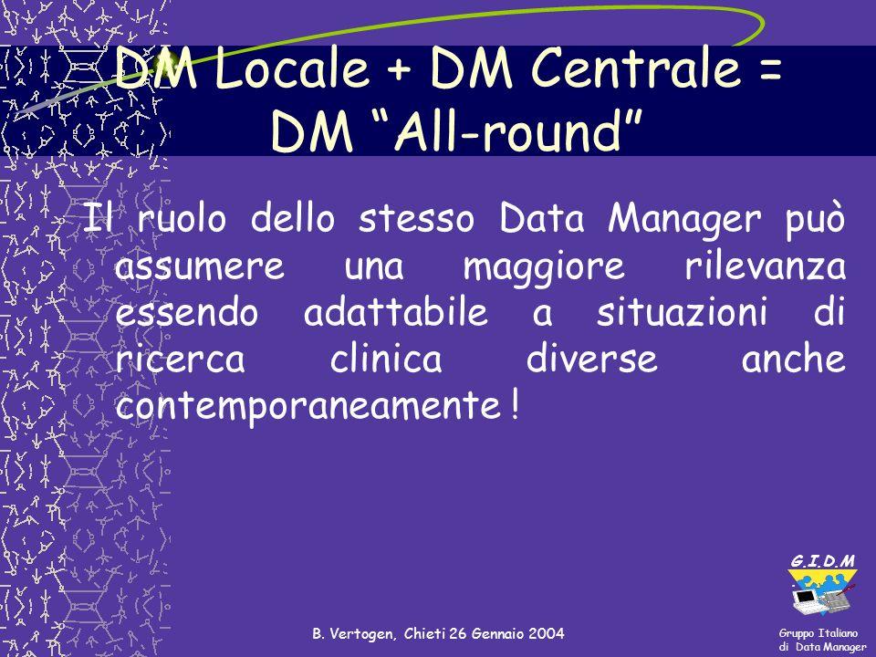 Gruppo Italiano di Data Manager G.I.D.M. B. Vertogen, Chieti 26 Gennaio 2004 Il ruolo dello stesso Data Manager può assumere una maggiore rilevanza es