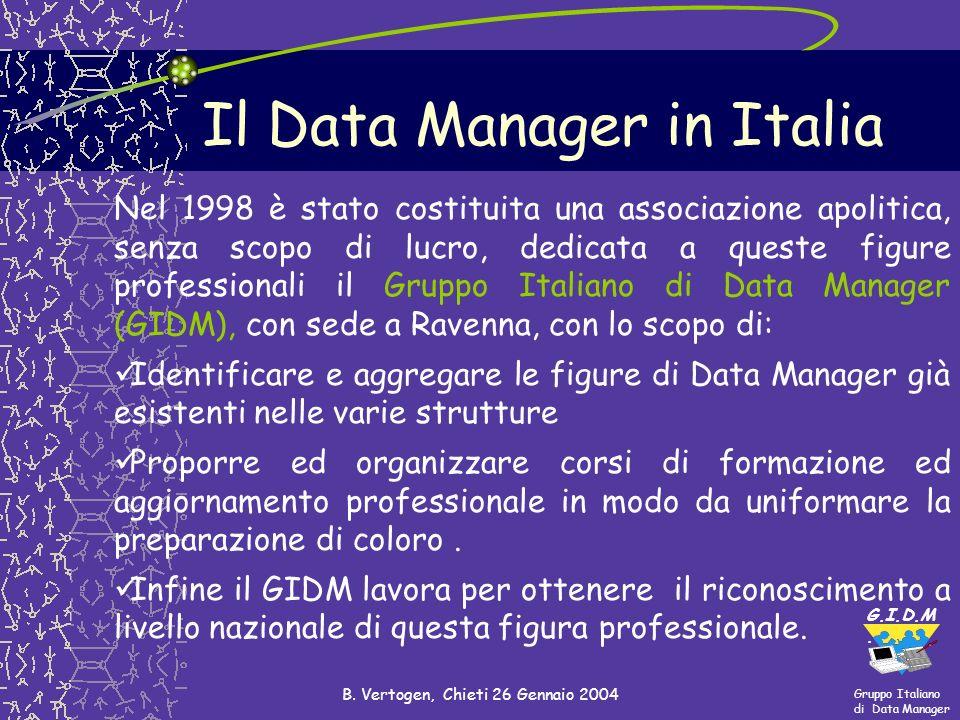 Gruppo Italiano di Data Manager G.I.D.M. B. Vertogen, Chieti 26 Gennaio 2004 Il Data Manager in Italia Nel 1998 è stato costituita una associazione ap