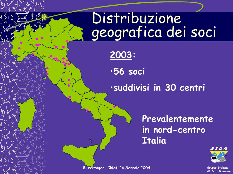 Gruppo Italiano di Data Manager G.I.D.M. B. Vertogen, Chieti 26 Gennaio 2004........................ 2003: 56 soci suddivisi in 30 centri.... Distribu
