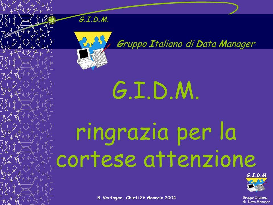 Gruppo Italiano di Data Manager G.I.D.M. B. Vertogen, Chieti 26 Gennaio 2004 G.I.D.M. ringrazia per la cortese attenzione Gruppo Italiano di Data Mana