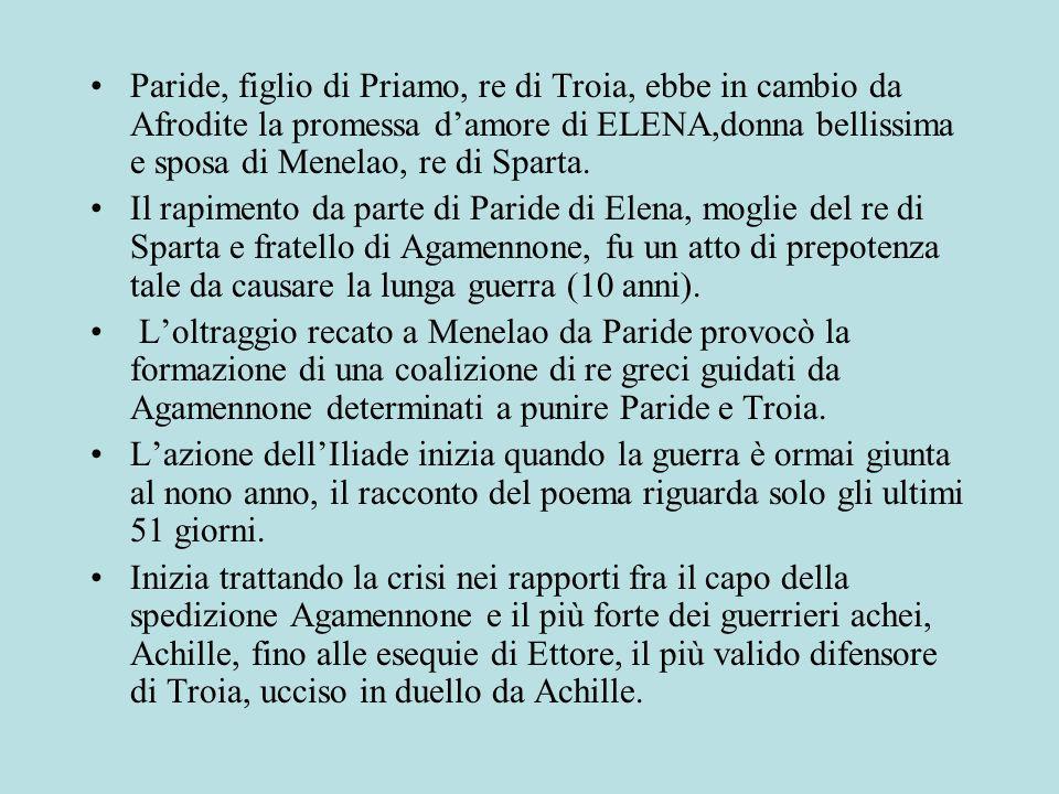 Paride, figlio di Priamo, re di Troia, ebbe in cambio da Afrodite la promessa damore di ELENA,donna bellissima e sposa di Menelao, re di Sparta.