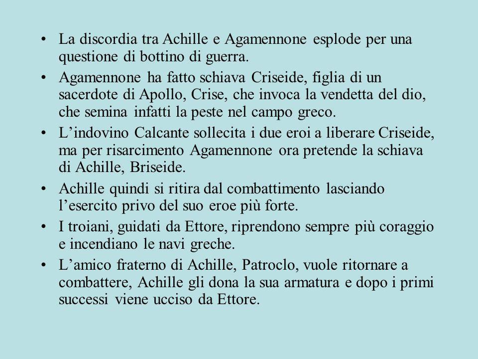 La discordia tra Achille e Agamennone esplode per una questione di bottino di guerra.