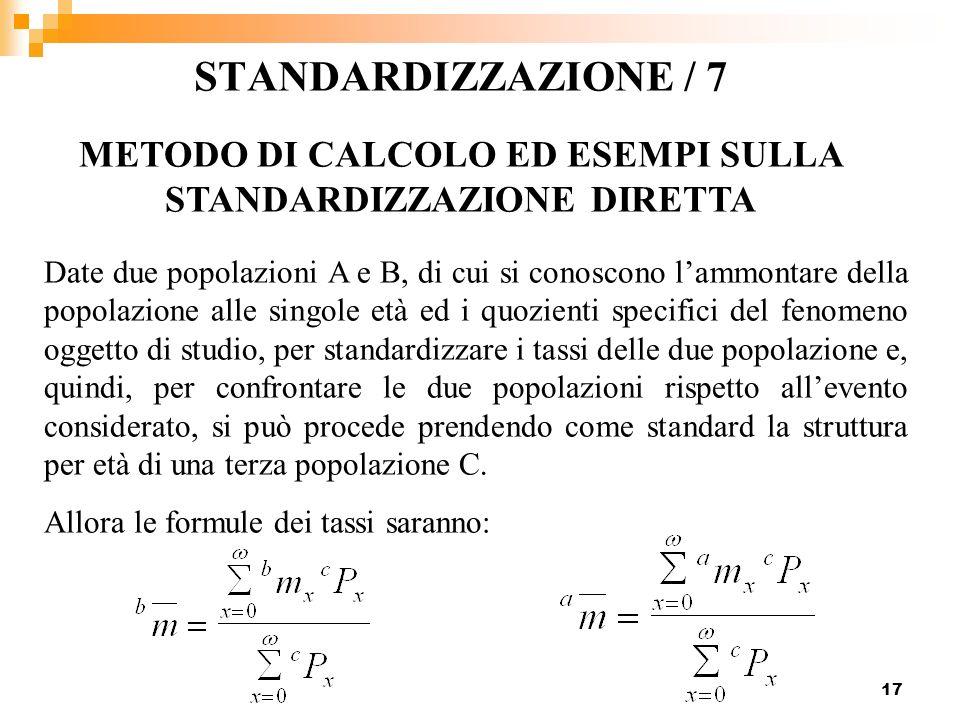 17 STANDARDIZZAZIONE / 7 METODO DI CALCOLO ED ESEMPI SULLA STANDARDIZZAZIONE DIRETTA Date due popolazioni A e B, di cui si conoscono lammontare della