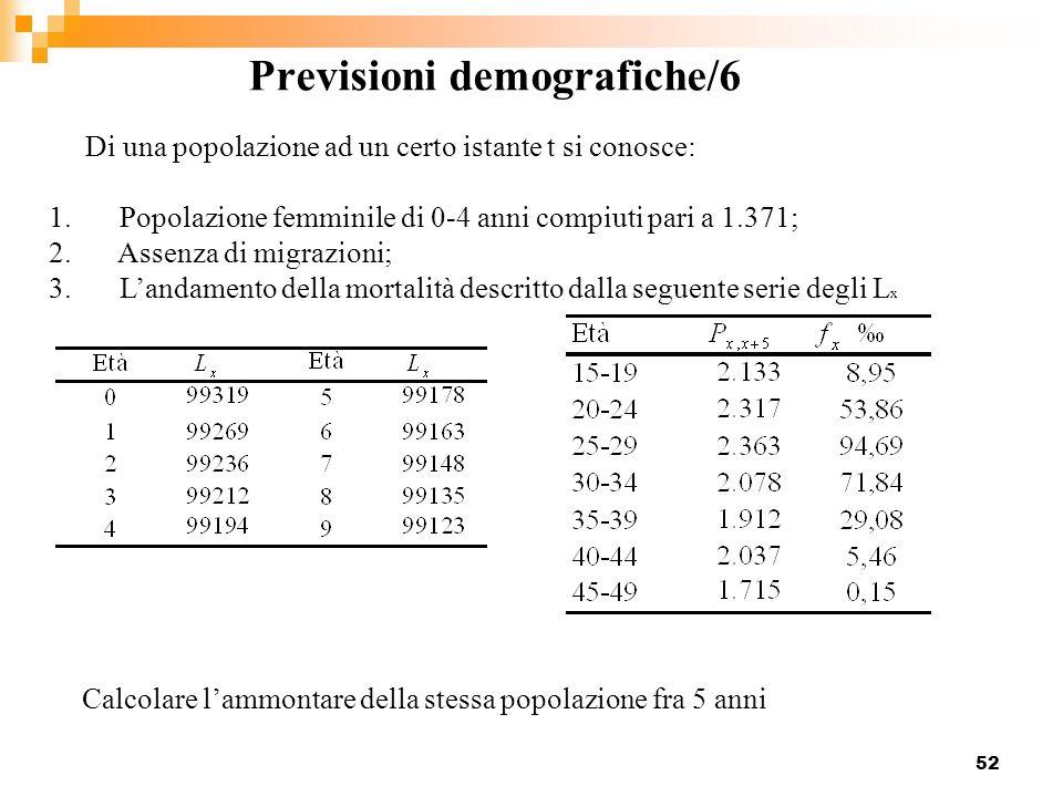 52 Previsioni demografiche/6 Di una popolazione ad un certo istante t si conosce: 1. Popolazione femminile di 0-4 anni compiuti pari a 1.371; 2. Assen